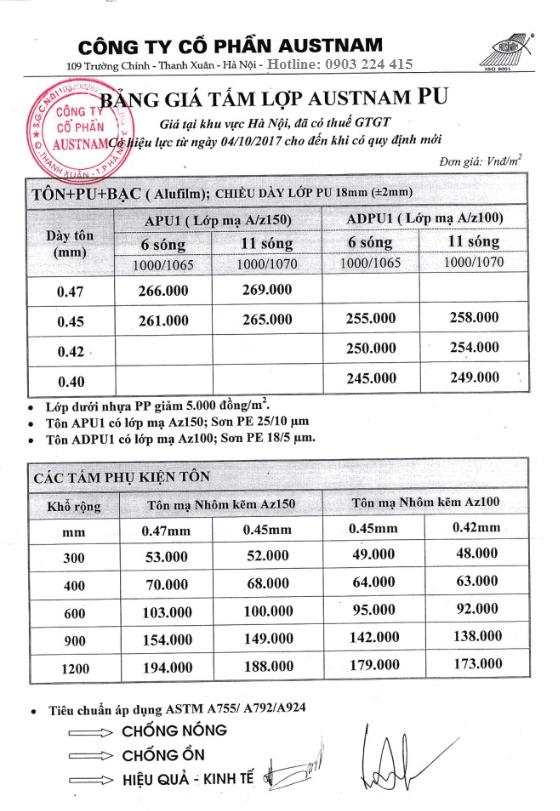 Bảng báo giá tấm lợp tôn austnam cách nhiệt 2017