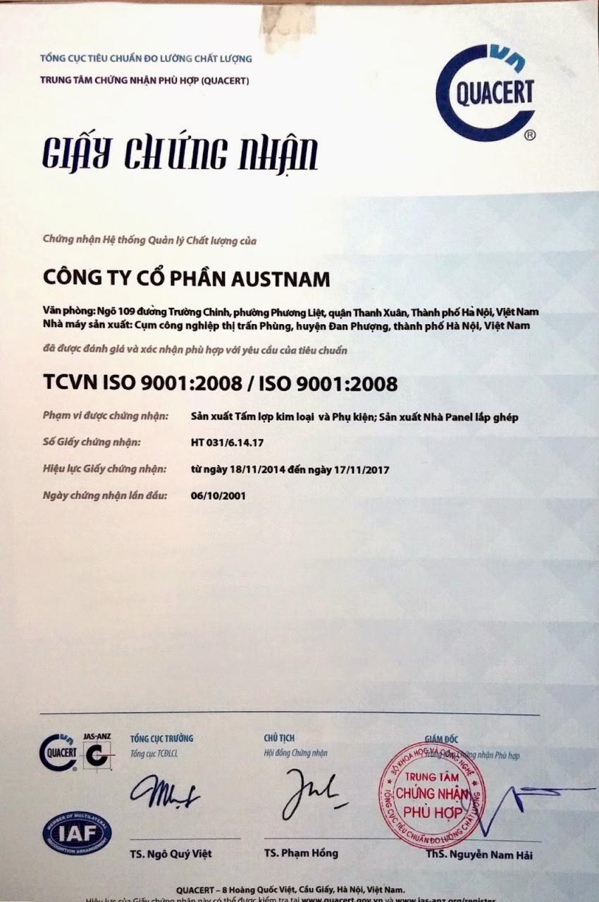 Chứng nhận ISO dành cho Công ty Cổ phần Austnam