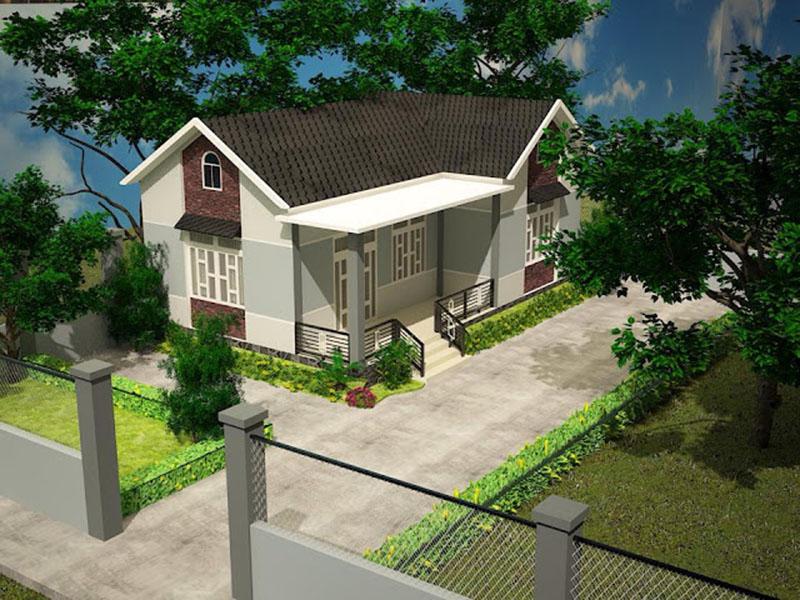 mẫu nhà cấp 4 nông thôn mái tôn đẹp