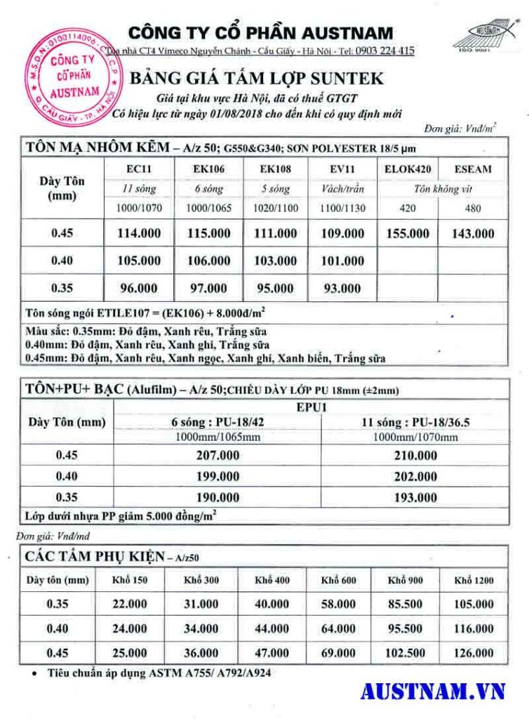 Bảng báo giá tấm lợp tôn Suntek