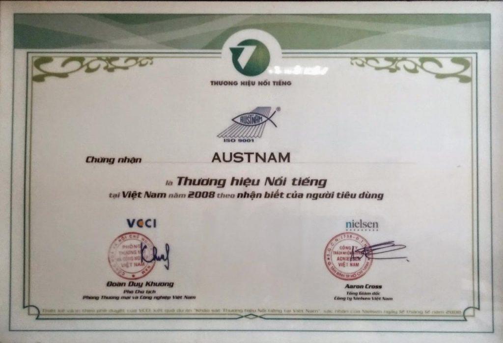 Chứng nhận Thương hiệu Nổi tiếng dành cho Công ty Austnam
