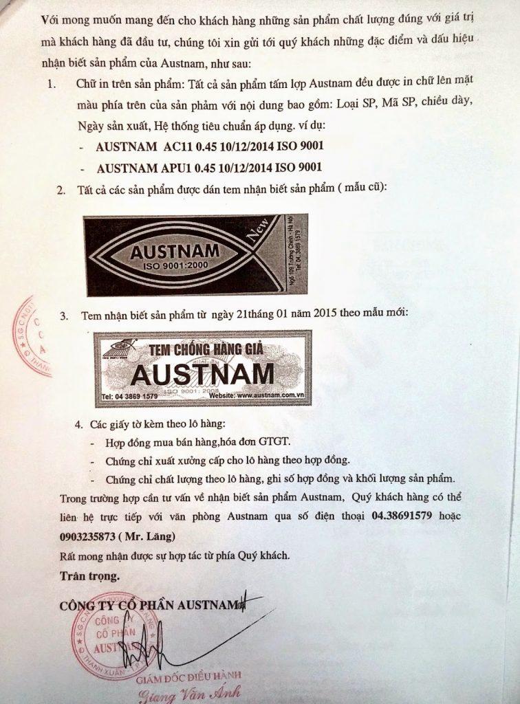Chứng chỉ chất lượng tôn Austnam
